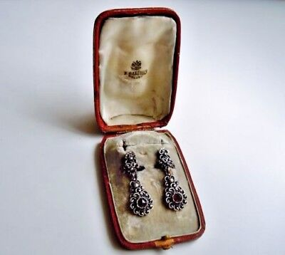 IMPERIAL Russian Earrings 84 Silver with Garnet stones Faberge design
