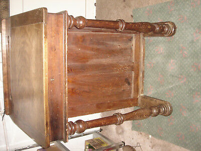 Antique school teacher desk with hinged lid,two ink ports,two storage shelfs .