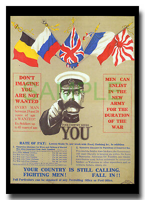 Your Country Needs You WW1 framed repro poster Alfred Leete 1914