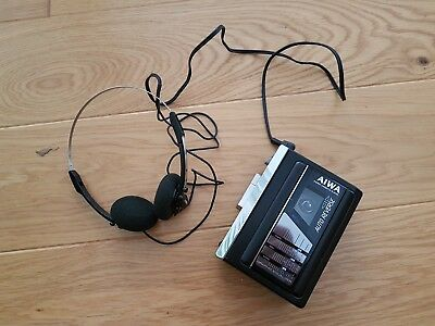 Vintage AIWA walkman - stereo cassette player - with headphones HS-G35 MKII