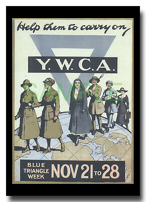 YWCA Help Them to Carry On WW1 framed poster repro Henry George Gawthorn