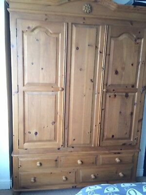 Antique Waxed Triple Pine Wardrobe With Two Doors And Five Drawers