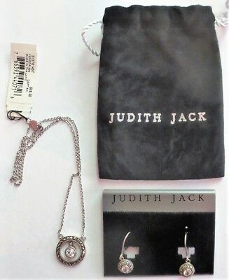 Judith Jack Marcasite And Rhinestone Sterling Silver Necklace And Earrings, NEW