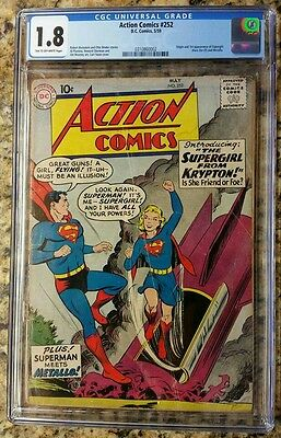 Action Comics #252 CGC 1.8 (C-OW) Origin & 1st Appearance of Supergirl & Metallo