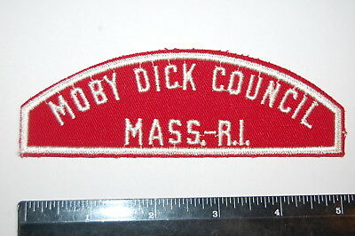 Mass Boy Scout MOBY DICK COUNCIL / MASS.-R.I. Red & White Patch
