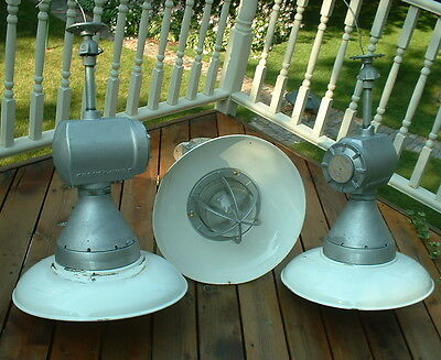 """(1) Crouse Hinds 21"""" White BIG Explosion Proof Vtg Cage Globe Light Industrial +"""