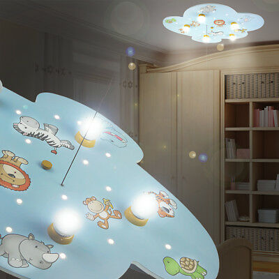 MIA Cloud Ceiling light LED/ Children/ Blue/ Lamp Africa Lion Wild animals lamp
