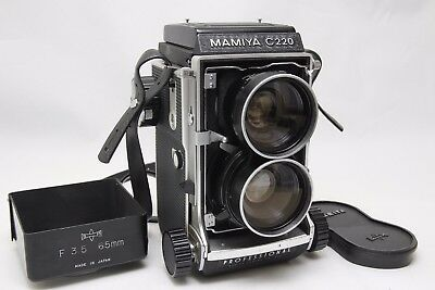 Excellent Mamiya C220 Professional TLR w/ Cap Hood Sekor 65mm f3.5 from Japan