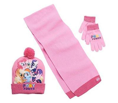 My Little Pony Girls Winter Accessories Set Pink Hat Scarf & Mittens OS New