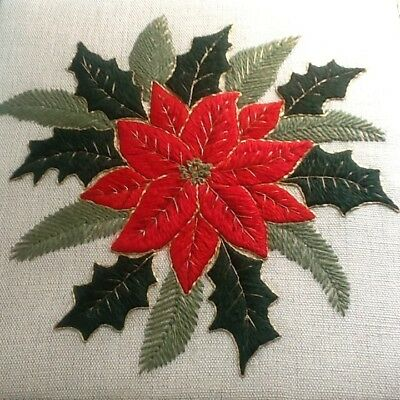 'Christmas Poinsettia',  a crewel embroidery kit