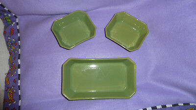 Set of 3 pale green  DENBY serving  dishes  1950's / possibly earlier