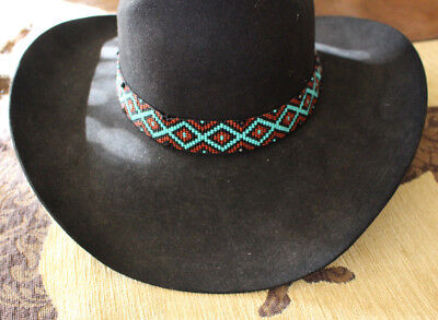 Western Vintage Beaded Hatband Stretch Multi Cowboy Rodeo Hat Band Jeans  Dress B Christmas Supplies 86be7e7a3ade