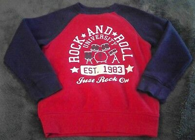 Falls Creek Kids rock and roll red blue Boys Top Sweat shirt 3T back to school