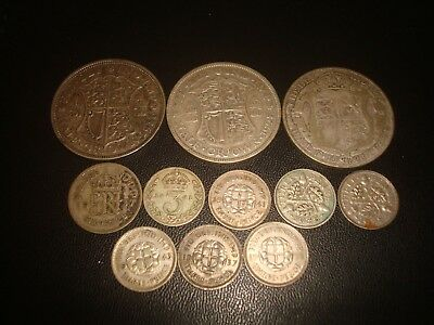 Lot Pre 1947 British Silver Coins 53.6 grams, Some Good