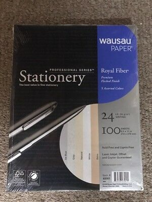 Wausau Stationary Acid Free Printer Specialty Paper 5 Asstd Colors 100 Sheets
