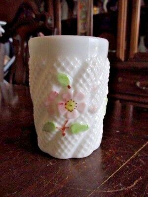 Vintage Consolidated Hand Painted Apple Blossom Tumbler