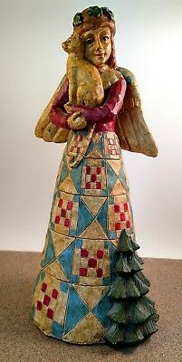 "Cat Lovers Angel holding cat 10"" Figurine Quilted Christmas Red Green Resin"