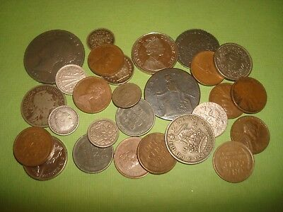 LOT OF WORLD COINS,ONE FROM 1700s,SOME SILVER- BRITISH,US,PORTUGAL,ETC
