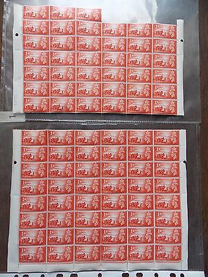 1948 Channel Islands George Vi Stamps 1D Sheet Of 87 Mnh In 2 Parts