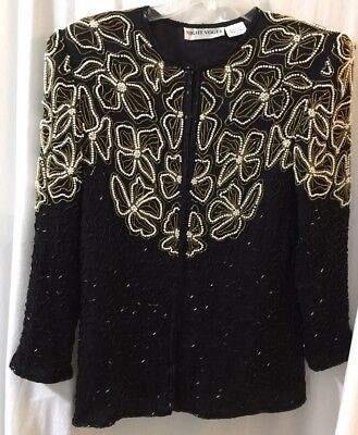 Night Vogue Vintage Women's 100% Silk Beads & Pearls Jacket Size XL EUC