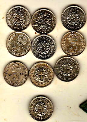 10 silver threpences to include high grade 1944,scarce date
