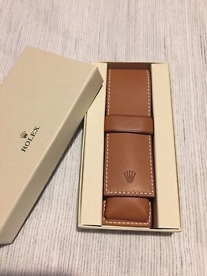 Rolex Double Pen Holder Real Leather Case Pouch Crown Brand New 100% Genuine