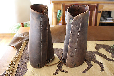 Antique Western Leather Cowboy Cuffs Leg Cover Horse Reenactment Gauntlet