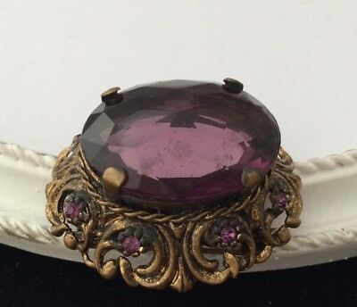 Gorgeous Vintage Art Deco Faceted Amethyst Crystal Cabochon Brooch