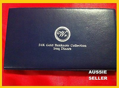Iraq Gift 8  Gold 24 Kt Bank Notes Album Banknote 25 To 25000 Dinar 24Kt 99.9%