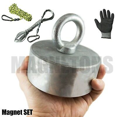 Neodymium magnet METAL DETECTOR Recovery TREASURE FINDER Fishing + ROPE SET GLOV