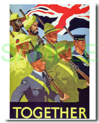 Together framed repro poster WW2 propaganda Allies
