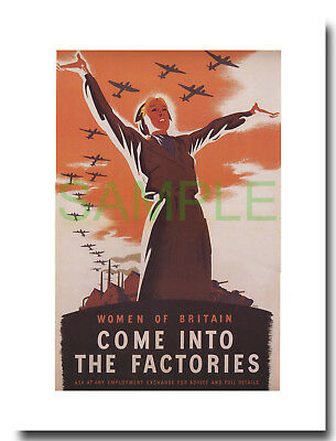 Come into the Factories Women of Britain framed repro poster Philip Zec 1941
