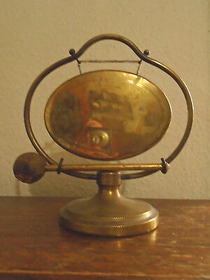 Antique Brass Table Dinner Gong - Stand & Striker - Vintage Wedding Prop