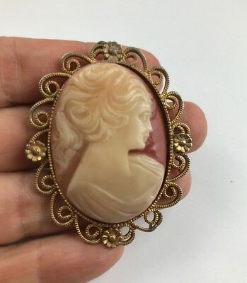 BEAUTIFUL ANTIQUE Filigree CAMEO BROOCH PIN Pendant  ~ STUNNING