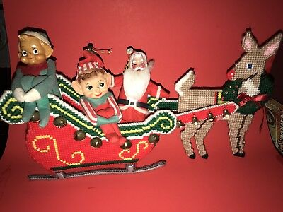 Two Vintage Knee Hugger Pixie Elfs And Santa With Reindeer Sled Japan Very Cute