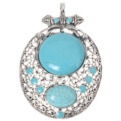 FP Tibet Silver Turquoise Oval Pendant Necklace 76 x 50 mm
