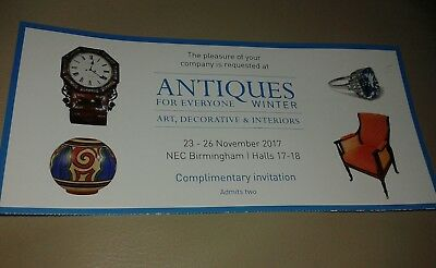 Antiques for Everyone 2 tickets 23 - 26 November NEC Birmingham free parking