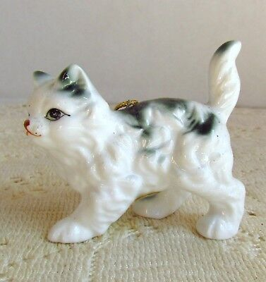Sweet Bone China Grey & White Long Hair Cat Ornament