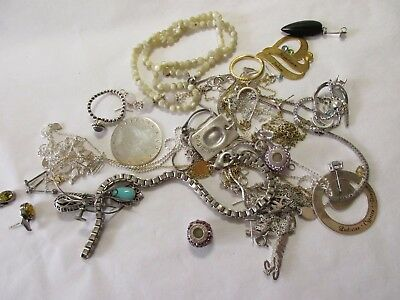 job lot of sterling silver/925/white metal jewellery related items?  for scrap