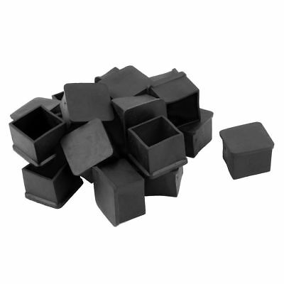 FP 20pcs Square Black PVC soft Furniture Leg Foot Cover Protector 30 x 30mm