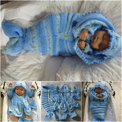 reborn specialist handknitted baby outfits.Mermaid snuggle cocoon and outfit