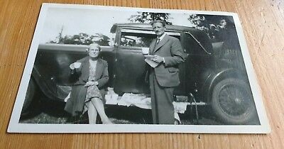 1920/30s Postcard - Couple Picnicking by Motor Car