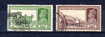 Kuwait 1939 three and four annas sg41 & sg43 used cat £33.50