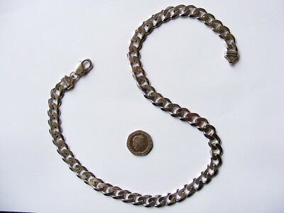 Very Heavy Sterling Silver Necklace or Neck chain Curb Link, 84.5 grams, 51cm