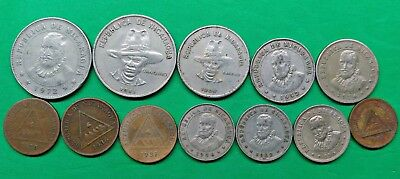 Lot of 12 Different Old Nicaragua Coins 1935-1983 Vintage Central America !!
