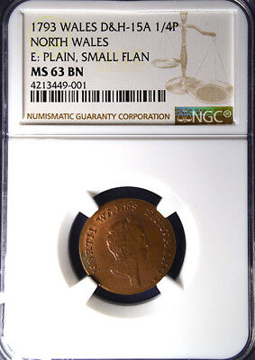 1793 North Wales 1/4 Penny Token, Plain Edge, Small Flan, DH 15A: NGC MS 63 BN