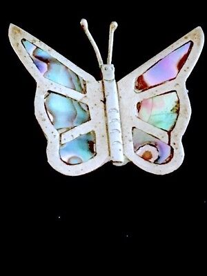 "Vintage Mexico 925 sterling silver abalone butterfly 1 1/2"" brooch/pin 4.5g"