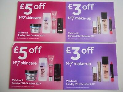 Boots No7 Vouchers £5X2 off skincare & £3X2 off make-up Valid till 29th October