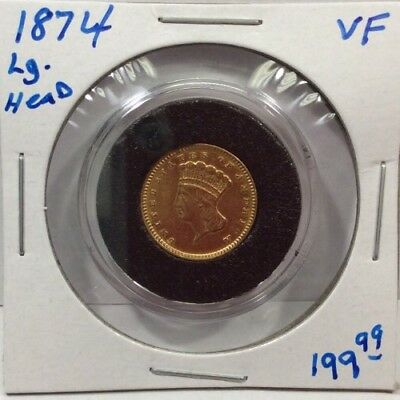 1874 $1.00 Gold Indian Princess, Large Head in VF Condition