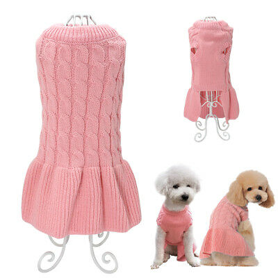 Hand Knitted Girl Dog Sweater Skirt Jumper Dress Puppy Pet Cat Clothes Coat Pink